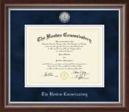 The Boston Conservatory at Berklee Diploma Frame - Silver Engraved Medallion Diploma Frame in Devonshire