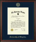 University of Virginia Diploma Frame - Gold Embossed Diploma Frame in Studio
