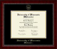 University of Wisconsin Whitewater Diploma Frame - Gold Embossed Diploma Frame in Sutton