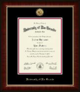 University of Rio Grande Diploma Frame - Gold Engraved Medallion Diploma Frame in Murano