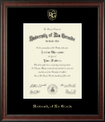 University of Rio Grande Diploma Frame - Gold Embossed Diploma Frame in Studio