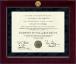 Certified Public Accountant Certificate Frame - Millennium Gold Engraved Certificate Frame in Cordova