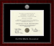 Certified Public Accountant Certificate Frame - Silver Engraved Medallion Certificate Frame in Sutton