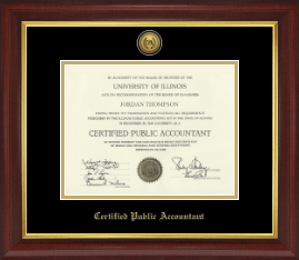 Certified Public Accountant Certificate Frame - Gold Engraved Medallion Certificate Frame in Redding