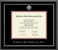 California State University Chico Diploma Frame - Silver Engraved Medallion Diploma Frame in Onyx Silver