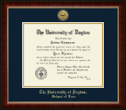 University of Dayton Diploma Frame - Gold Engraved Medallion Diploma Frame in Murano