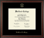 Wofford College Diploma Frame - Gold Embossed Diploma Frame in Studio