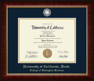 University of California Davis Diploma Frame - Masterpiece Medallion Diploma Frame in Murano