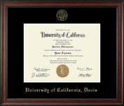 University of California Davis Diploma Frame - Gold Embossed Diploma Frame in Studio
