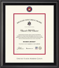 United States Marine Corps Certificate Frame - Dimensions Certificate Frame in Midnight