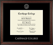 Carthage College Diploma Frame - Silver Embossed Diploma Frame in Studio