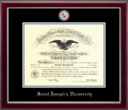 Saint Joseph's University in Pennsylvania Diploma Frame - Masterpiece Medallion Diploma Frame in Gallery Silver
