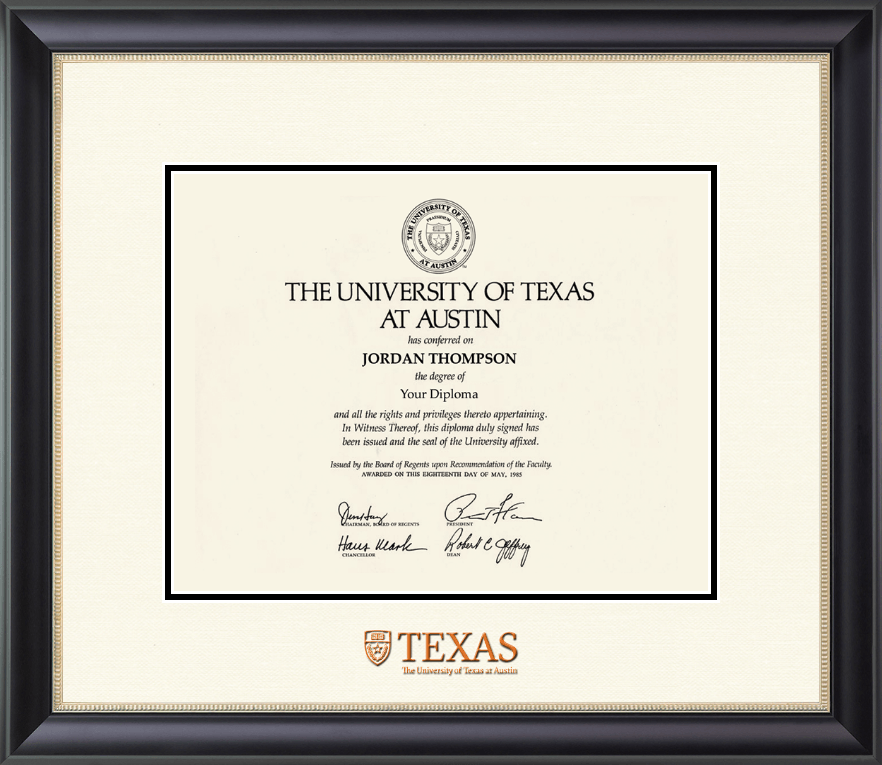 The University of Texas at Austin Dimensions Diploma Frame in Noir ...