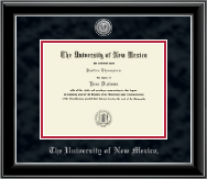 The University of New Mexico Diploma Frame - Silver Engraved Medallion Diploma Frame in Onyx Silver