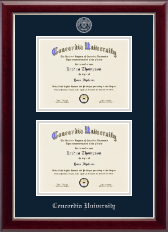 Concordia University Portland Diploma Frame - Double Diploma Frame in Gallery Silver