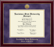 Louisiana State University School of Medicine Diploma Frame - Gold Engraved Medallion Diploma Frame in Gallery