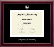 Augsburg University Diploma Frame - Silver Embossed Diploma Frame in Gallery Silver