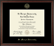 St. Mary's University Diploma Frame - Gold Embossed Diploma Frame in Studio