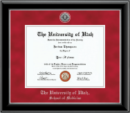 The University of Utah Diploma Frame - Silver Engraved Medallion Diploma Frame in Onyx Silver