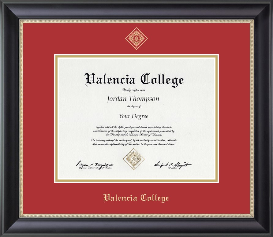 Valencia College Gold Embossed Diploma Frame in Noir - Item #305437