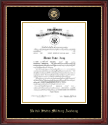 United States Military Academy Certificate Frame - Masterpiece Medallion Commission Certificate Frame in Kensington Gold