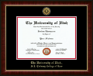 The University of Utah Diploma Frame - Gold Engraved Medallion Diploma Frame in Murano