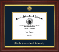 Florida International University Diploma Frame - Gold Engraved Medallion Diploma Frame in Redding