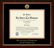 The University of Tennessee Knoxville Diploma Frame - Gold Engraved Medallion Diploma Frame in Murano