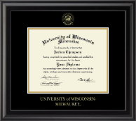 University of Wisconsin-Milwaukee Diploma Frame - Gold Embossed Diploma Frame in Midnight