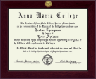 Anna Maria College Diploma Frame - Century Gold Engraved Diploma Frame in Cordova