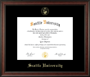 Seattle University Diploma Frame - Gold Embossed Diploma Frame in Studio