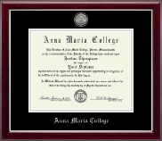 Anna Maria College Diploma Frame - Silver Engraved Medallion Diploma Frame in Gallery Silver