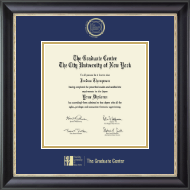 CUNY - The Graduate Center Diploma Frame - Gold Embossed Diploma Frame in Noir