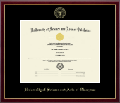 University of Science and Arts of Oklahoma Diploma Frame - Gold Embossed Diploma Frame in Galleria