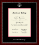 Davidson College Diploma Frame - Silver Embossed Diploma Frame in Sutton