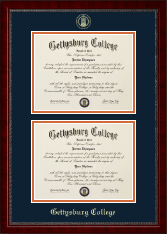 Gettysburg College Diploma Frame - Double Diploma Frame in Sutton