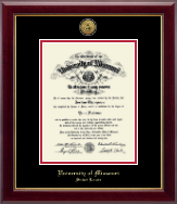 University of Missouri Saint Louis Diploma Frame - Gold Engraved Medallion Diploma Frame in Gallery