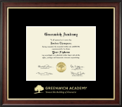 Greenwich Academy Diploma Frame - Gold Embossed Diploma Frame in Studio Gold