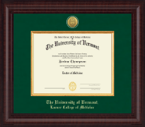 The University of Vermont Diploma Frame - Presidential Gold Engraved Diploma Frame in Premier