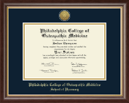 Philadelphia College of Osteopathic Medicine Diploma Frame - Gold Engraved Medallion Diploma Frame in Hampshire