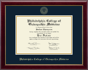 Philadelphia College of Osteopathic Medicine Diploma Frame - Gold Embossed Diploma Frame in Gallery