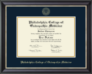 Philadelphia College of Osteopathic Medicine Diploma Frame - Gold Embossed Diploma Frame in Midnight