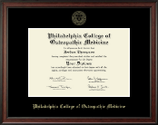Philadelphia College of Osteopathic Medicine Diploma Frame - Gold Embossed Diploma Frame in Studio