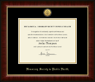 Delta Omega Honorary Society in Public Health Certificate Frame - Gold Engraved Medallion Certificate Frame in Murano