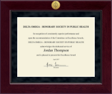 Delta Omega Honorary Society in Public Health Certificate Frame - Millennium Gold Engraved Certificate Frame in Cordova