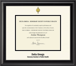 Delta Omega Honorary Society in Public Health Certificate Frame - Dimensions Certificate Frame in Midnight