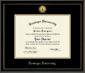 Tuskegee University Diploma Frame - Gold Engraved Medallion Diploma Frame in Onexa Gold