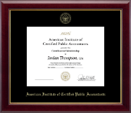 American Institute of Certified Public Accountants Certificate Frame - Gold Embossed Certificate Frame in Gallery