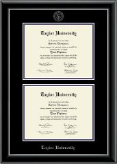 Taylor University Diploma Frame - Double Diploma Frame in Onyx Silver