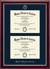 Mount Aloysius College Diploma Frame - Double Diploma Frame in Gallery Silver